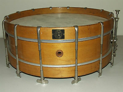 "Antique 1920's Walberg & Auge 14"" Maple Snare Drum - 14 Nickel Thumb Screw Lugs"