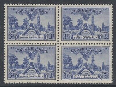 50% OFF! 1936 Centenary of South Australia 3d Blue *BLOCK OF 4* MUH SG 162 FB2