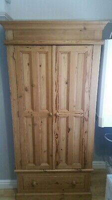 Stunning solid Antique pine double door wardrobe with single drawer.