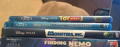 Disney Pixar Mixed 4 DVD Lot - Monsters Inc & Uni, Nemo,Toy Story 3 (Blu Ray),