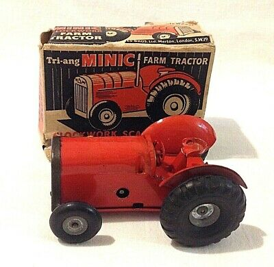 Vintage Minic Clockwork Toy Red Tractor In Box Triang Tri-ang
