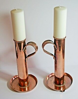 Vintage pair large copper candlesticks chambersticks with candles