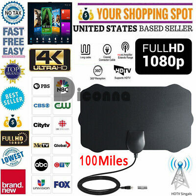 Mini Digital HD TV Antenna Signal Booster Free TV 100 miles 1080P 4K 12ft Cable