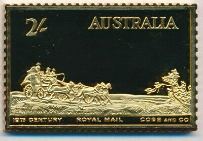 Australia: 1988 24ct Gold on Stg Silver Stamp $99.50 Issue Price - Cobb & Co
