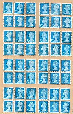 "100 2nd Class blue ""A"" grade Unfranked GB Stamps (Peelable)"