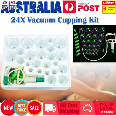 24x Vacuum Cupping Suction Massager Kit Massage Acupuncture Pain Relief Cups Set
