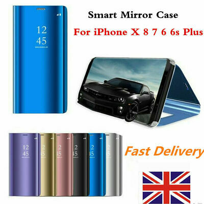 Clear View Mirror Flip Phone Case For iPhone X 8 7 6 6s Plus Stand Cover Cases