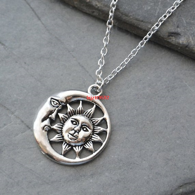 Sun And Moon Necklace, Sun And Moon Pendant,Silver Moon Necklace,Charm Celestial