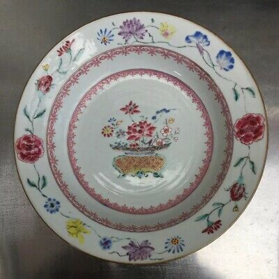 Antique Chinese Porcelain Famille Rose Bowl Decorated With Flowers
