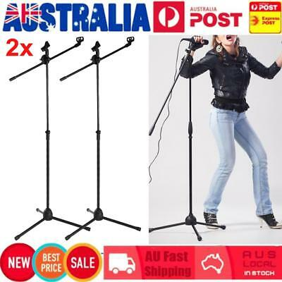 2Pcs Telescopic Boom Microphone Stand Adjustable Mic Holder Tripod 2 Clips 1-2m