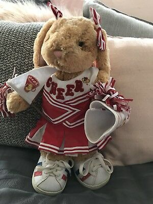 Authentic Rare Cheerleading Rabbit Build A Bear With Outfit Like New