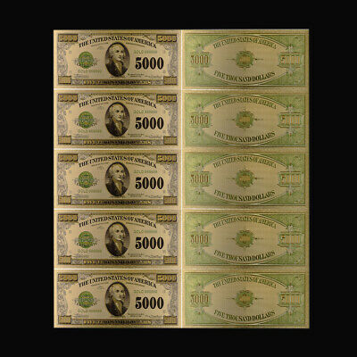 5pcs Chile 24k Gold Banknote 5000 Poes Colorful World Money Art Ornament