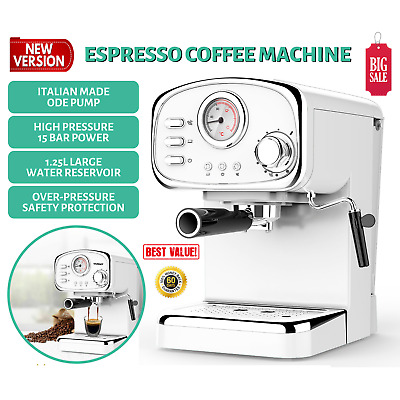 Electric Coffee Machine Espresso Maker with Milk Frother Frothing Arm 15 BAR