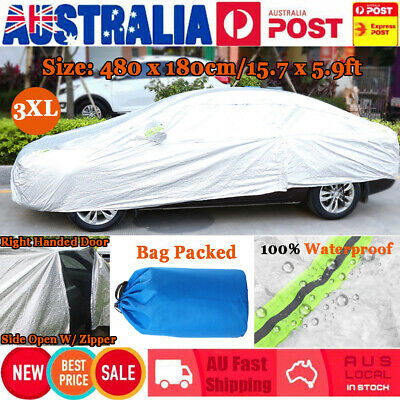 Aluminum Waterproof Triple Thicker 3XL Car Cover Rain Resistant UV Dust Outdoor