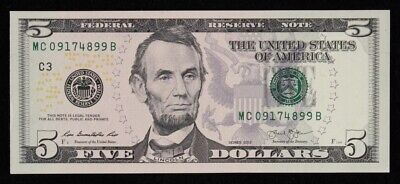 """USA: 2013 $5 Redesigned Issue """"ABRAHAM LINCOLN"""" Portrait. Pick 539 Nice UNC"""