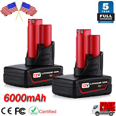 2X 12Volt For Milwaukee M12 Lithium ion Extended Capacity Battery 48-11-2460 C12