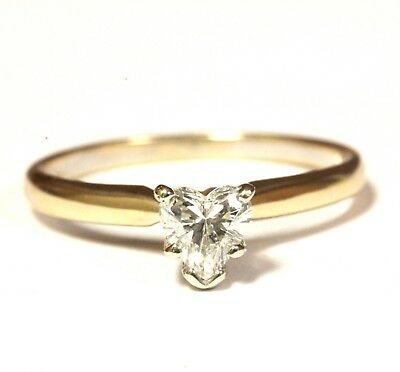 14k yellow gold .46ct I1 H heart shape diamond solitaire engagement ring 2.2g
