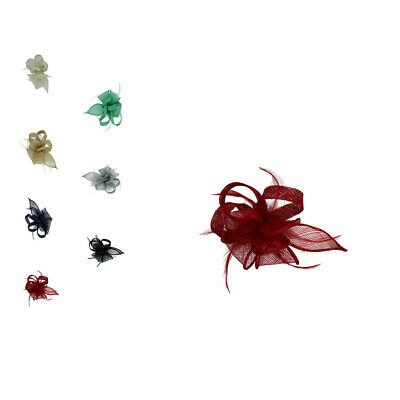 Small Flower Feather Wedding Hat Fascinator Brooch Clip Party Prom Royal Ascot