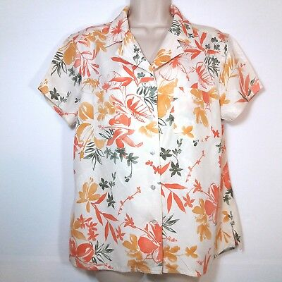 ddebe206b4cc2 Kate Hill Womens Size Large Shirt Blouse Short Sleeve Button Front 100% Silk