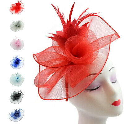 Flower Feather Fascinator Headband Clip Wedding Hat Prom Royal Ascot Races Prom