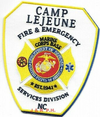 """Marines - Camp Lejeune Fire - Emergency Service, NC (4.25"""" x 5"""" size) fire patch"""