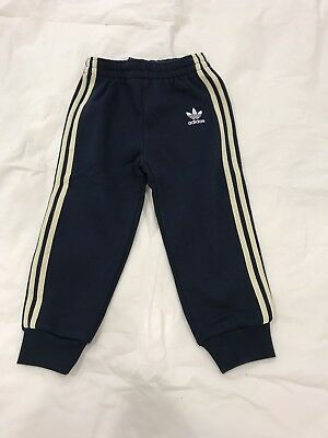 BNWOT Adidas Navy Striped Sport Trousers Pants 18 24 Months 92 CM