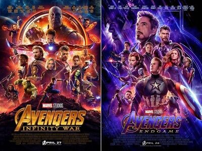 "Avengers Infinity War End Game Set of 2 Movie Poster Print 24x36"" 27x40"" 32x48"""