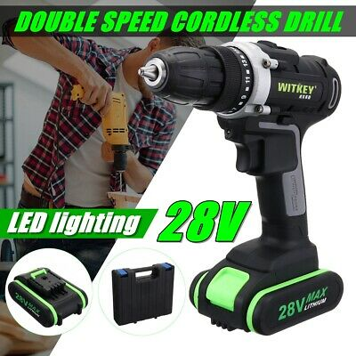 28V Electric Cordless Drill Driver Screwdriver 35nm Li-Ion Battery LED Worklight