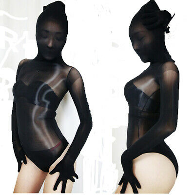8d transparent Bodystocking extraglatt glänzend Bodysuit Catsuit mit hood gloves