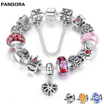 PANDORA LUXURY Bracelet Silver Charms  Bracelet & Bangle With Queen Crown Beads