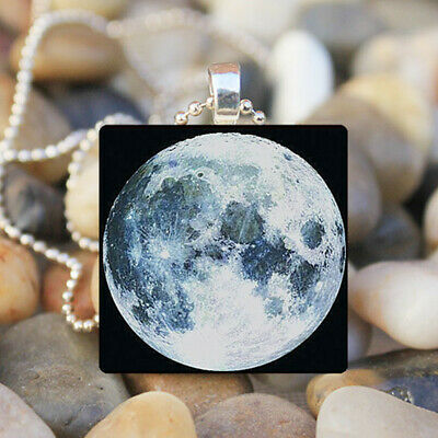 New Full Moon Space Lunar Image Necklace Pendant and 18in Chain Silver Jewelry