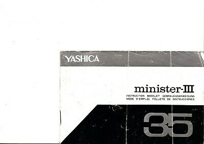 100% Genuine Original Yashica Camera Minister Iii 3 Instruction Manual
