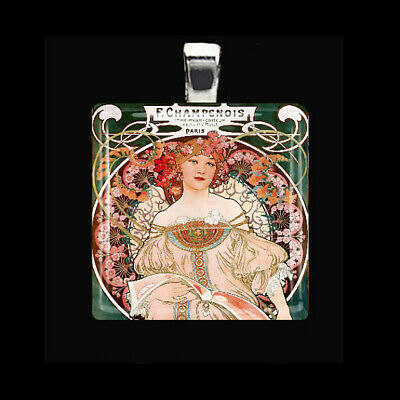 REVERIE Alfons Alphonse Mucha Art Nouveau Glass Tile Pendant Necklace