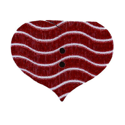 Mixed Plaid Stripe Love Heart Shaped Wooden Sewing Buttons Random Colors Sent Ji