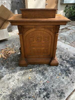 Antique Oak Church Lectern Gothic Style Great as A Bar