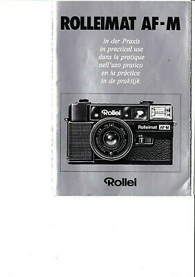 100% Genuine Original Rolleimat Af-M Camera Manual