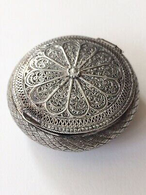 Old Indian solid silver circular snuff box, filigree & beaten wire work- Quality
