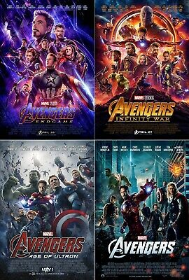"Avengers 4 3 2 1 Final Movie Poster 24x36"" 27x40"" 32x48"" Marvel Comics Print"