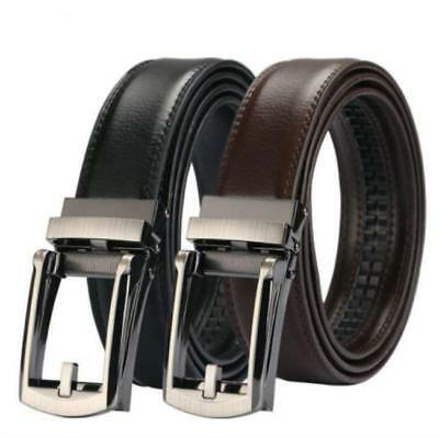 Men's Leather Belt Automatic Ratchet Click Lock Buckle Fashion Belt KV