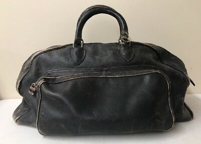 """Troxel Black Leather Bag 22""""x12"""" Doctor Case Overnight - Antique 99 Distressed"""