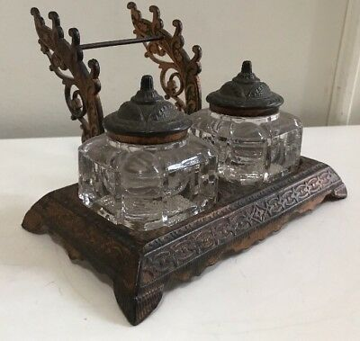 Antique Art Nouveau Brass/ Copper Double Inkwell with Glass Wells & Pen Rests