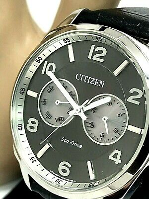 Citizen Eco-Drive AO9020-17H Men's Classic Grey Dial Black Leather Band Watch