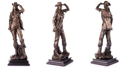 XL Bronzefigur Skulptur Art Deco Cowgirl Annie Oakley Sign. Remington 9,2 Kg