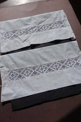 Pair vintage white Swedish cotton pillowcases with deep crochet lace insert.