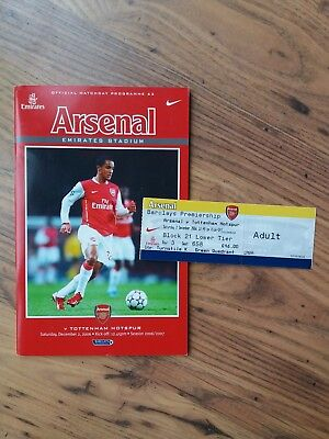 2006/07 Arsenal vs Tottenham Programme & Unused Ticket - 1st NLD at Emirates
