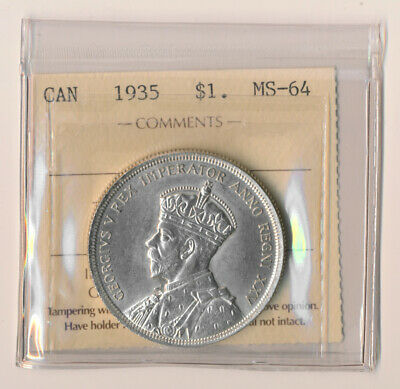 1935 Canada $1 Uncirculated Iccs Near Gem Beauty (See Pictures) No Reserve