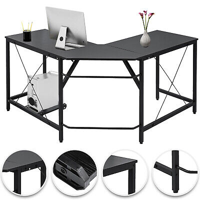 L-Shaped Corner Computer Desk Home Office Space-Saving Easy Install Sturdy