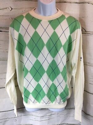 16b14b869 Vintage Hugo Boss Golf Argyle Light Sweater Green/Cream Fits L -  Embroidered Arm