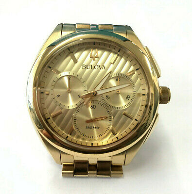 Bulova (97A125) Mens CURV Chronograph Watch Gold Tone Stainless Steel