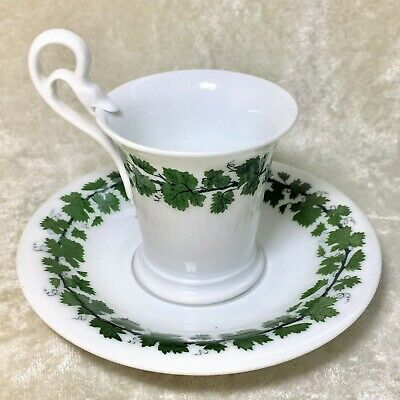 Meissen Germany Green Vine Ivy Chocolate Cup Saucer Swan Handle Antique RARE